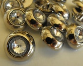"""9 Silver Headlight Large Round Shank Buttons Size 3/4"""""""