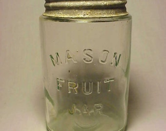 c1900-10 Mason Fruit Jar , Pint Fruit Jar Pale Aqua Glass Canning Jar