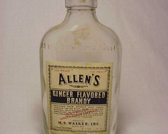1945 Allen's Ginger Flavored Brandy prepared by M. S. Walker Inc. Boston, Mass. ,Whiskey Flask Bottle with Label