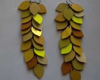 Shades Of Yellow Leather Dangle Earrings