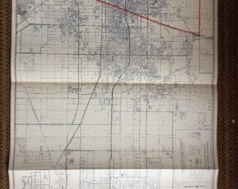 Industrial Decor Map 1980's  Pomona Valley  Ontario huge California vintage
