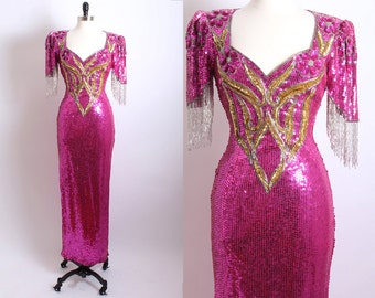 Vintage Pink and Gold Sequin Beaded Gown, Art deco Long Sequin Dress