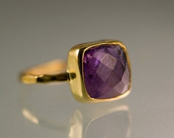 SALE - Purple Amethyst Ring Gold - February Birthstone Ring - Purple Stone Ring - Stacking Ring - Gold Ring- Cushion Ring - Mother's Ring