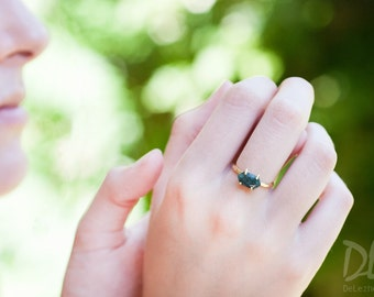 Stack Green Raw Emerald Ring Gold - May Birthstone Ring - Solitaire Stone Ring - Stacking Ring - Gold Ring - Marquise Prong Set Ring