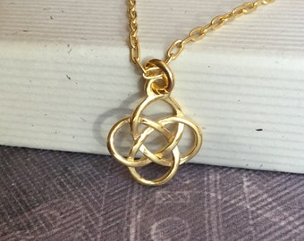 Gold vermeil celtic knot necklace, Irish rose charm, modern minimalist simple jewelry, layering, N204