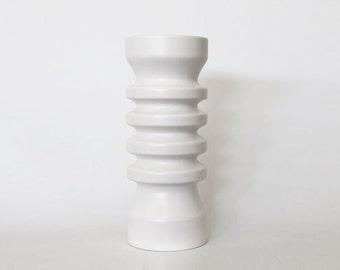 Vintage Tall Modernist White Matte Vase - Flora, Netherlands 1980s
