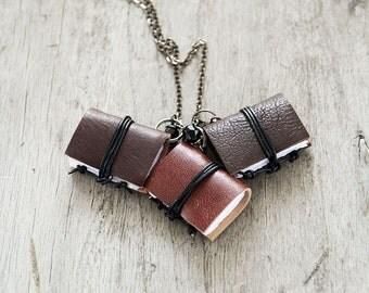 Classic chocolate Mini book jewelry, tiny book pendant, miniature book necklace, journal necklace, leather literature necklace,