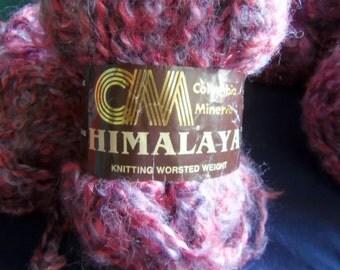 Columbia Minerva Himalaya Knitting Worsted Weight Lavendar and Rose Crinkly Yarn, Nine 50 Gram Skeins, Acrylic and Nylon
