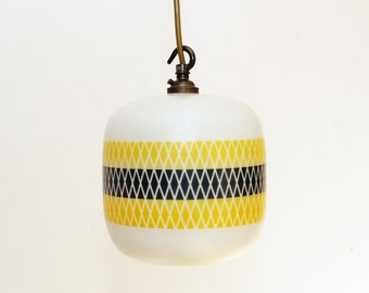 Vintage Glass Light shade - 1950's Retro  - Yellow & Black Patterned - Ceiling Light