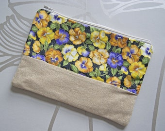SALE - Pansy and Gold Pouch