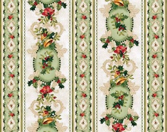 Christmas Bells Tossed Bells and Holly Stripe premium cotton fabric by Jennifer Chiaverini for Red Rooster sold per yard