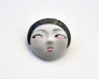 Little Face Handmade Porcelain Ceramic Brooch