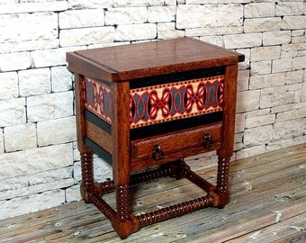 Decorated Blanket Chest, Dollhouse Miniature 1/12 Scale, Hand Made