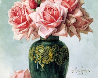 Vase with Pink Roses - Cross stitch pattern pdf format