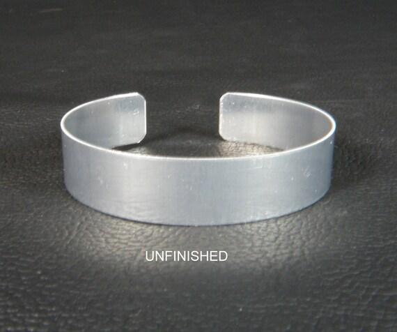 "1/2"" x 6"" (.5 x 6), one dozen (12) Aluminum Cuff Bracelet Blanks unfinished"
