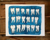 Blue Molars.  An print of an original dental watercolor painting.