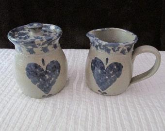 """Vintage Ellis Salt Pottery Cream and Sugar  4"""" TALL"""