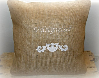 Swedish/ Nordic/ french/ blessings/ embroidered/ burlap /  pillow cover/ European