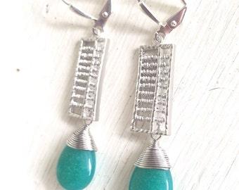 Teal Stone Dangle Earrings in Silver. Blue Drop Earrings. Drop. Fashion Earrings. Unique Earrings.