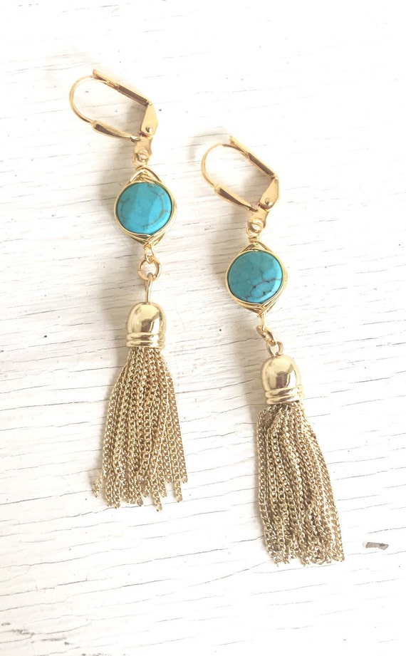 Turquoise and Gold Tassel Earrings.  Drop. Dangle. Gold Tassel Jewelry. Turquoise Jewelry. Jewelry Gift.  Dangle Earrings. Modern Earrings.
