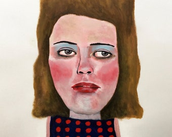 """ART PRINT limited edition of original painting 11"""" x 14"""" // Jupiter no. 83 // portrait painting // illustration on paper // woman painting"""