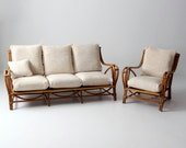 vintage rattan furniture set, couch and chair bamboo with cushions