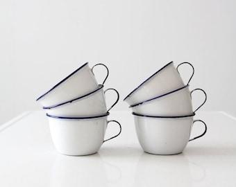 SALE vintage Ker enamelware mugs set of 6, enamel cups