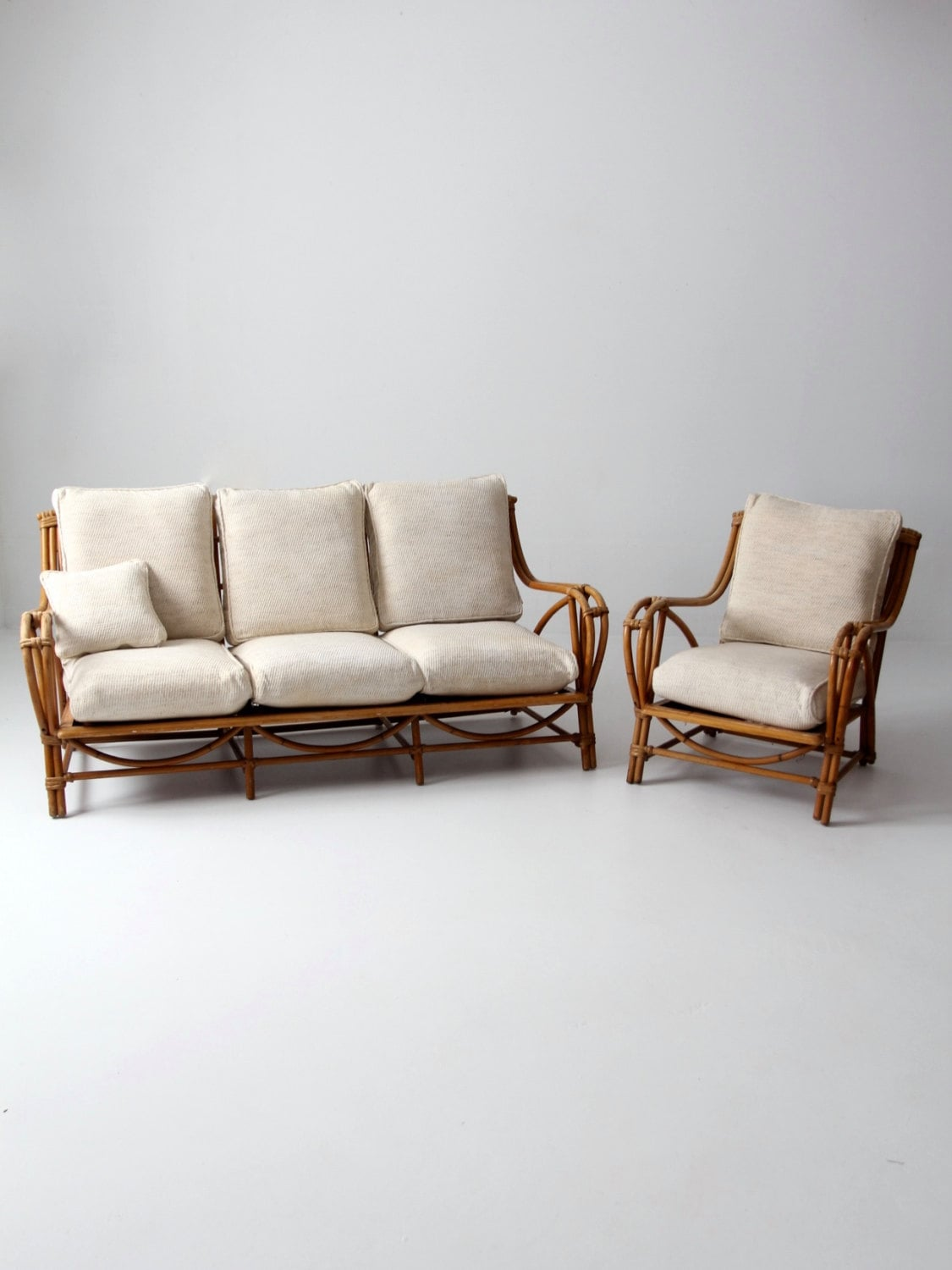 Vintage rattan furniture set couch and chair bamboo with for Seat covers for cane furniture