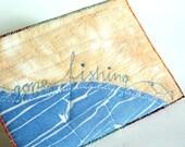 Gone Fishing, Fiber Art Card, Nautical Decor, Blue card, Fisherman gift, fish postcard