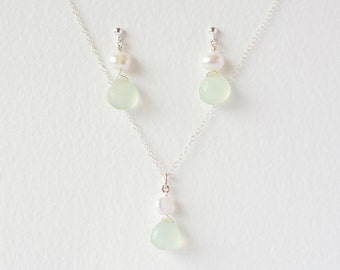 sea foam chalcedony gemstone drop and white freshwater pearl earrings and pendant