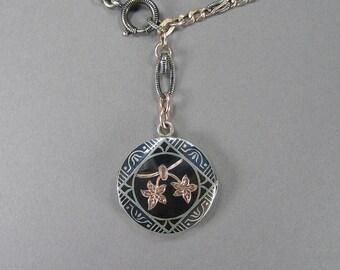 Antique Niello Locket, Watch Chain Necklace, Victorian, Edwardian, 800 Silver, Rose Gold Vermeil