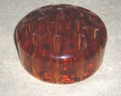 Flower Frog, Amber Orange Glass,
