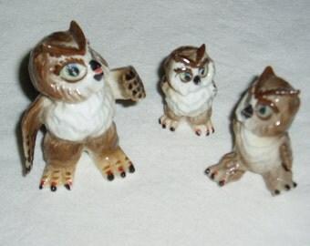 Vintage Miniature Owl Family, Ceramic