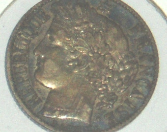 Antique Coin, France 1 Franc, 1872A, Rainbow Toning