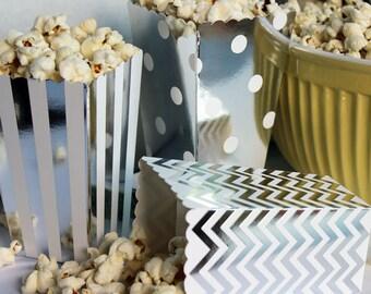 12 Mini Silver Foil Party Favor Boxes, Wedding Favor Boxes, Mini Popcorn Boxes in Stripes, Chevron and Polka Dots