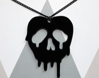 SALE- Poison apple Disney inspired black pendant on black chain necklace