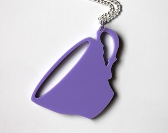 Teacup lilac pendant on silver chain necklace