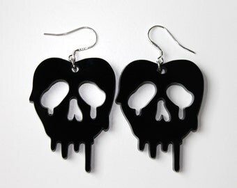 SALE- Poison apple black earrings inspired by Snow White