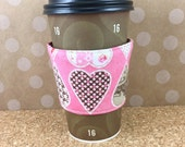 Coffee Sleeve Valentine Love Cup Cozy Hearts Eco Friendly Simple Sleeves Pink Red White Striped Pattern Party Favors