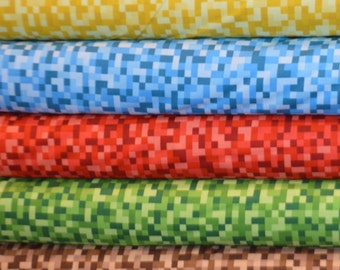 Michael Miller. Bitmap in Yellow, Blue, Red, Green, and Brown - this is NOT a copyrighted, licensed Minecraft fabric