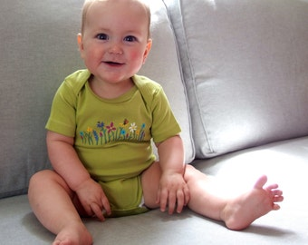Gender Neutral Baby bodysuit Organic Cotton light green with hand painted flowers, beautiful green!