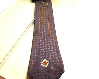 Vintage Beau Brummell Tie Art Deco Brown/Orange/Cream Fleur de Lys Retro Fashion 40-50's