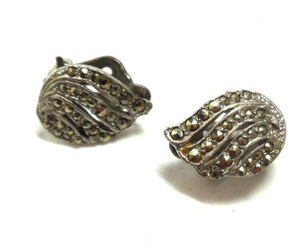 Antique Marcasite and silver Earrings Tiny Victorian swirls Art Deco Bride Collect Wear
