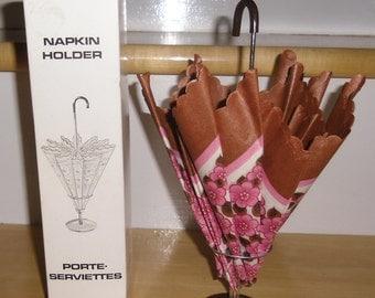 Vintage Napkin Holder - Made in Denmark, 1950s Umbrella Napkin Holder, Complete with Napkins in Original Box, Kitsch Kitchen Decor