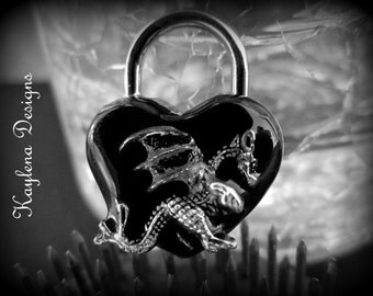 Dragon  Heart Lock,  heart  lock, working lock, lock and key  Love Lock Heart with Crystals