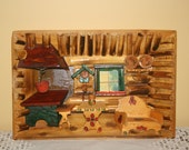 Vintage Wood Bamboo 3-D Diorama Shadow Box Kitchen Cabin German Swiss Handmade Hand Carved Wall Hanging