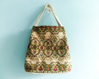 Vintage tapestry purse bag carpet kilim / handbag / cream off white green red / floral / 60s
