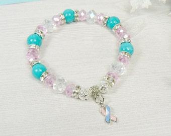 SIDS, Infant Loss Awareness Support Bracelet, Pink & Blue Bracelet, Infant Loss Jewelry, Infant Loss Support Gift, SIDS Awareness Bracelet