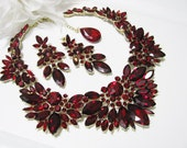 Siam Red Statement Wedding  Necklace Bridal Necklace - Bridal Jewelry - Wedding Necklace - Pageant JewelryBridal Necklace