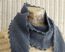 Denim BLUE KNIT SHAWL || Eco Friendly Yarn || Cotton Scarf